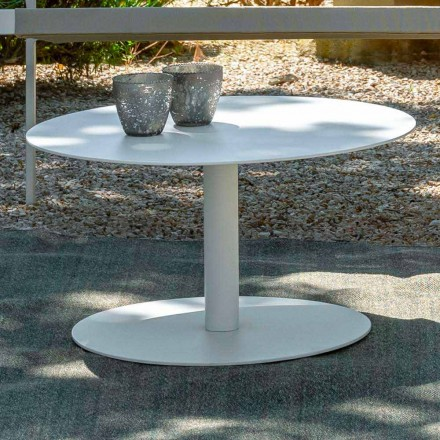 Round Garden Coffee Table in White Aluminum or Charcoal - Key by Talenti