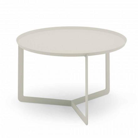 Round Outdoor Coffee Table in Hemp or Mud Metal - Stephane