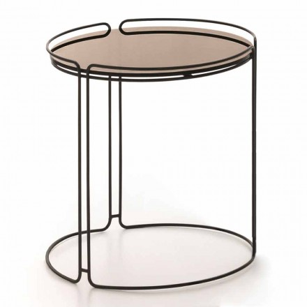 Round Metal Coffee Table with Glass Top Made in Italy - George