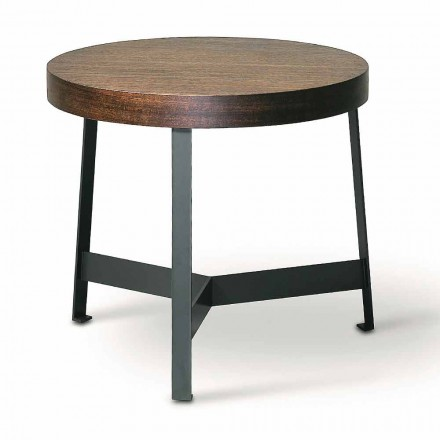 Round Coffee Table in Mdf Eucalyptus and Metal Finish Made in Italy - Juliana