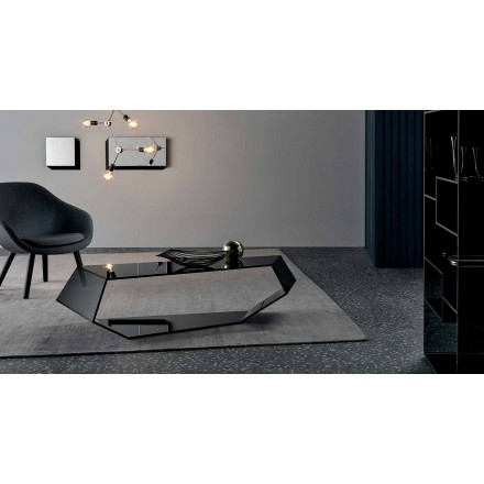 Shaped Coffee Table in Extralight or Smoked Glass Made in Italy - Neok