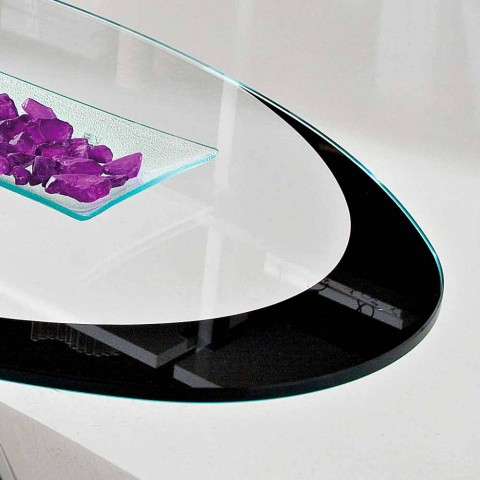 Coffee Table with Glass Top with Made in Italy Screen Printing - Campari
