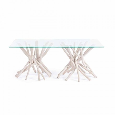 Coffee Table with Tempered Glass Top and Homemotion Teak Base - Teak