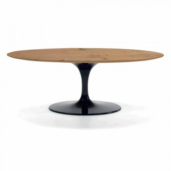 Coffee Table with Oval Veneered Wood Top Made in Italy - Dollars