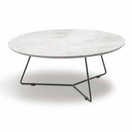 Coffee Table with Round Marble Top and Metal Base Made in Italy - Gin