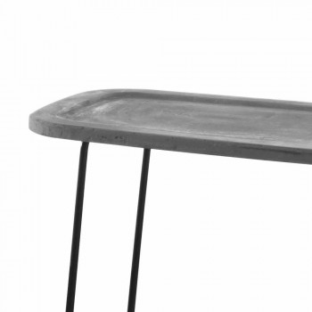 Coffee Table in Cement with Metal Structure Made in Italy - Evolve
