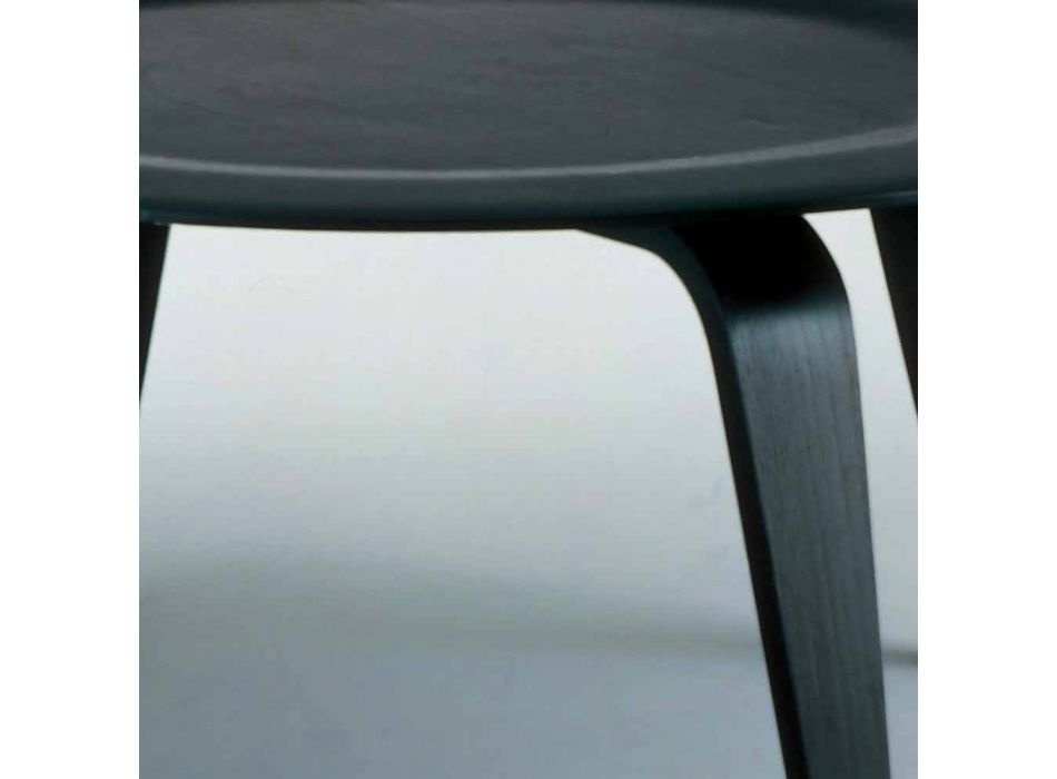 Coffee Table in Black Stained Ash with Round Top Made in Italy - Cariddi