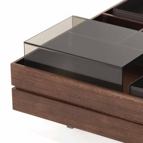 Coffee Table in Wood with Details in Glass and Leather Made in Italy - Ermano