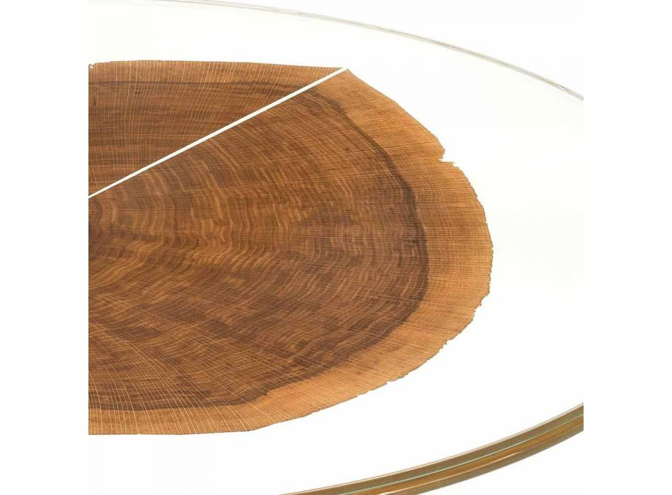 Coffee Table in Wood and Steel with Metal Legs Made in Italy - Damascus