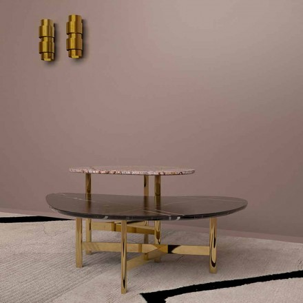 Luxury Coffee Table in Black Marble or Forest Brown Made in Italy - Manolo
