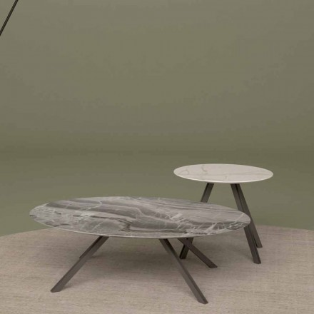 Lounge table in Orobico or Calacatta marble and Metal Made in Italy - Sirena
