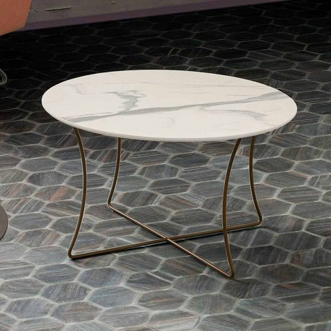 Coffee Table in Painted Metal with Hpl Top Made in Italy - Numbo
