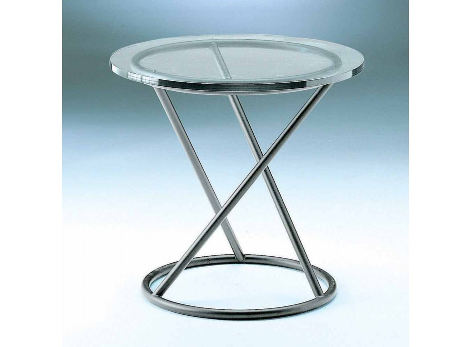 Coffee Table in Tempered Glass with Steel Base Made in Italy - Pegaso