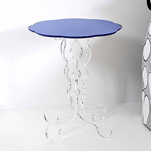 Round blue coffee table diameter 36 cm modern design Janis, made in Italy