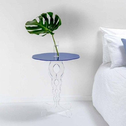 Blue round coffee table 50 cm Janis, modern design, made in Italy
