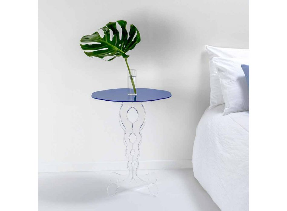 Round blue coffee table diameter 50 cm modern design Janis, made in Italy