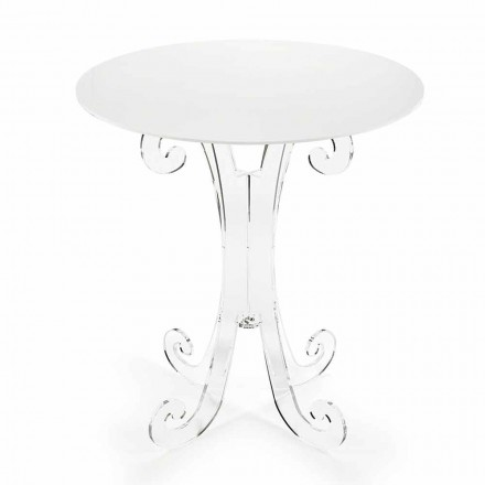 Round Coffee Table in Transparent and White Plexiglass or with Wood - Stilio