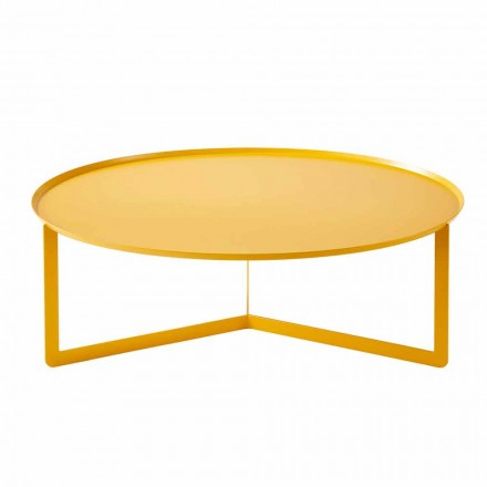 Modern Round Outdoor Coffee Table in Metal Made in Italy - Stephane