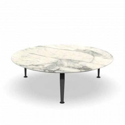 Round Garden Coffee Table in Calacatta Stoneware and Aluminum - Cruise by Alu Talenti
