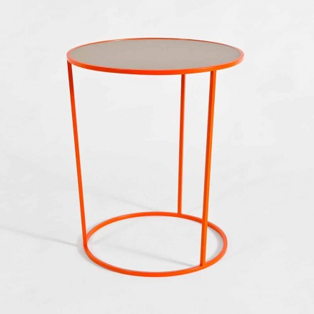 Modern Round Coffee Table in Colored Metal Made in Italy - Raphael