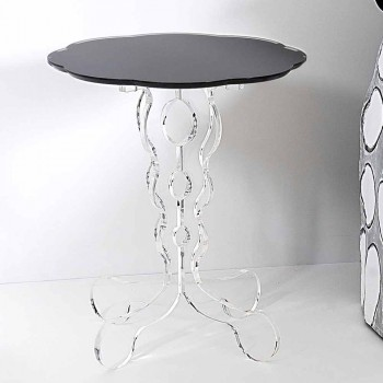 Round black coffee table 36 cm modern design Janis, made in Italy