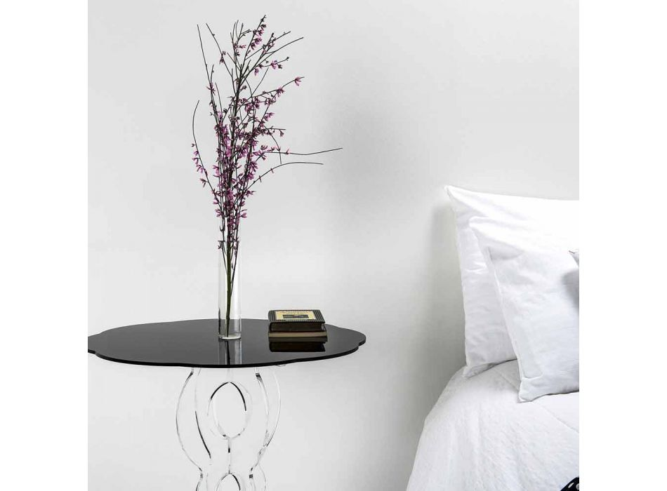 Round black coffee table diameter 50 cm modern design Janis, made in Italy