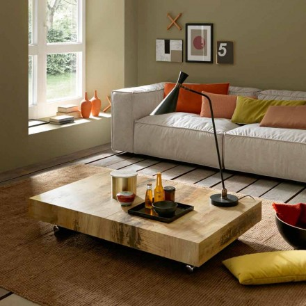 Transforming Coffee Table in Wood and Black Metal Made in Italy - Niverio