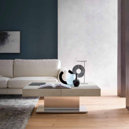 Modern Transformable Coffee Table, Mortar Effect Top Made in Italy - Salomon