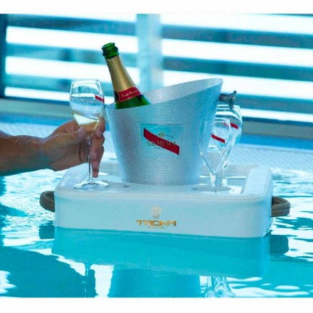 Faux leather floating pool tray made in Italy by Trona