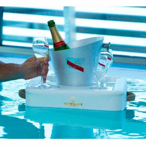 Faux leather floating pool tray made in italy by trona for Arredi per piscine