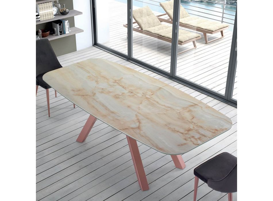 Modern Barrel Shaped Table in Marble and Rose Gold Steel Made in Italy – Settimmio
