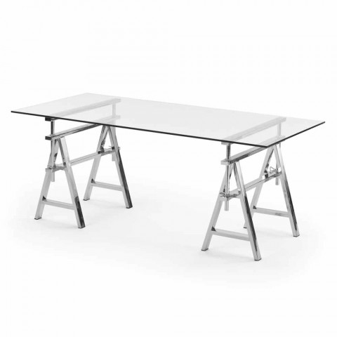 Height Adjustable Steel Glass Table L190xh72 74 78xp90cm