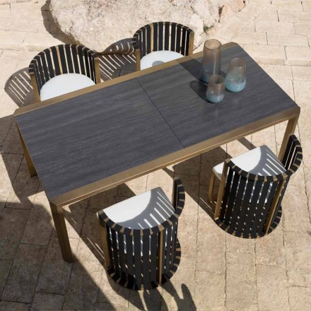 Extendable Table 340 cm Outdoor Dining in Aluminum and Glass or Laminam - Julie