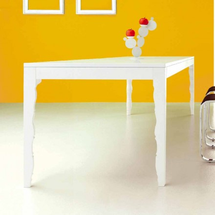 Extendable Table in White Lacquered Wood to 2,5 m with Turned Legs - Concept
