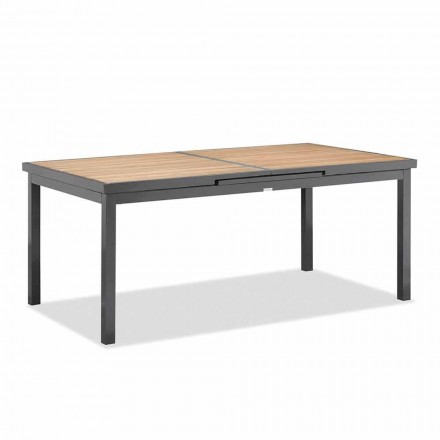 Extendable Table to 240 cm from Outdoor in Aluminum and Teak Top - Venera