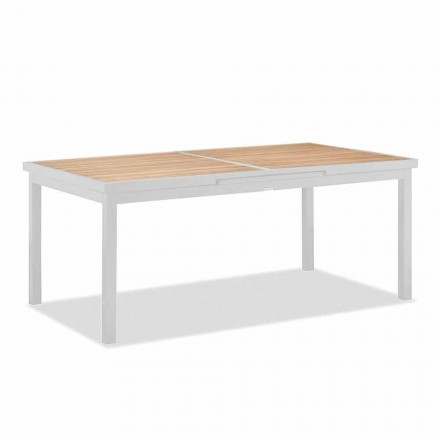 Extendable Outdoor Table in Aluminum and Teak Top - Bilel