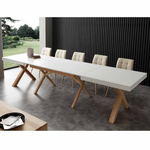 Extendable white table with structure in natural solid Rico