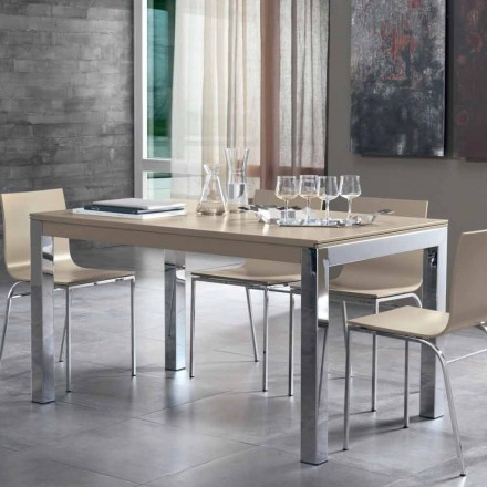 Extendable Table with Tanganika Walnut Wood Top and Metal Legs - Ketla