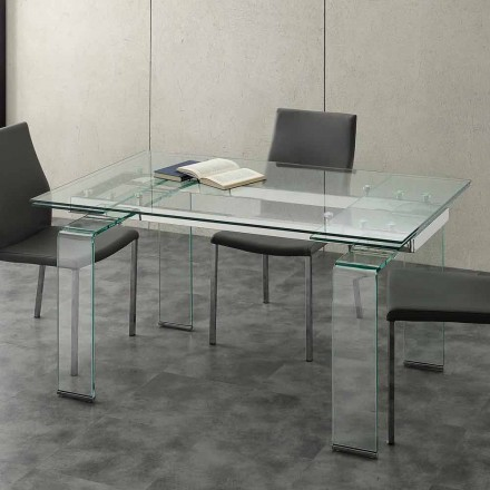 Modern extendable dining table Lord, with tempered glass top