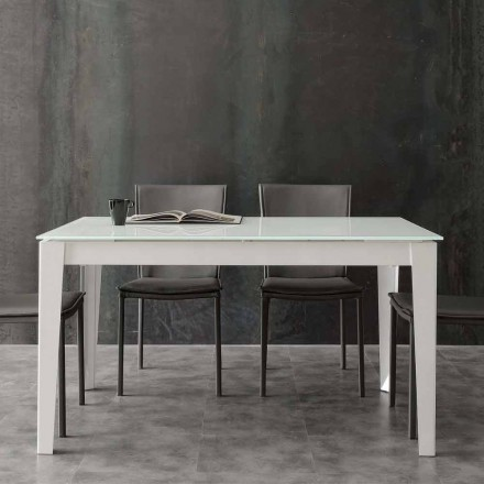Extending table Baltimora, with tempered glass table top