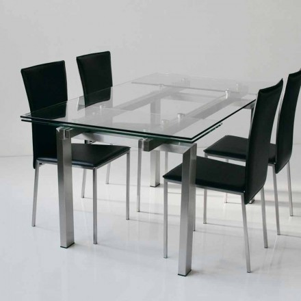 Modern design extendable table Lily, with tempered glass top