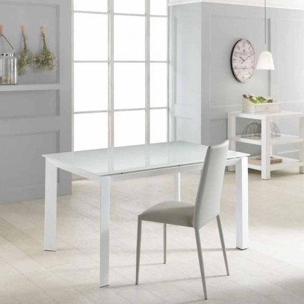 Extending dining table Vinicio, with toughened glass top