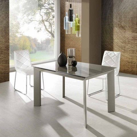 Tavoli Allungabili Vetro Temperato.Extendable Dining Table Made Of Tempered Glass And Metal Zeno