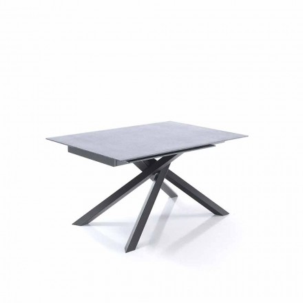 Extendable dining table in glass and metal – Tristano