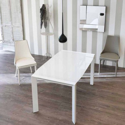 Modern design extending table with Zeno glass top