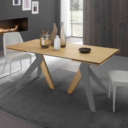Extensible dining table with oak wood top Daryl, made in Italy