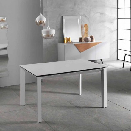 Modern extensible table up to 220 cm white ceramic plan Nosate