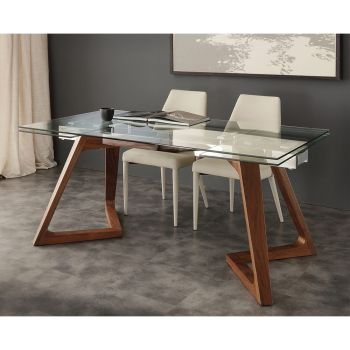 Extendable design table with Iside tempered glass top