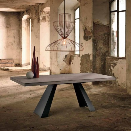 Design extendable table in oak wood made in Italy, Zerba