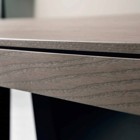 Extendable design table in oak wood made in Italy Zerba